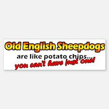 Potato Chips Old English Sheepdog Bumper Bumper Bumper Sticker