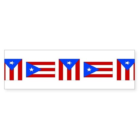 Line of Puerto Rican Flags Bumper Sticker