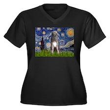 Starry/Irish Wolfhound Women's Plus Size V-Neck Da