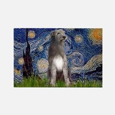 Starry/Irish Wolfhound Rectangle Magnet