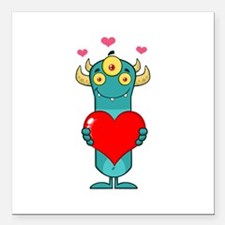 "Love Monster Square Car Magnet 3"" x 3"""