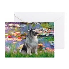 Lilies / Keeshond Greeting Card