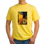 Cafe / Keeshond (F) Yellow T-Shirt