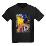 Cafe / Keeshond (F) Kids Dark T-Shirt