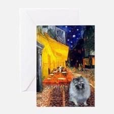 Cafe / Keeshond (F) Greeting Card