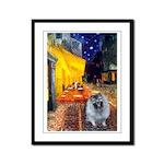 Cafe / Keeshond (F) Framed Panel Print
