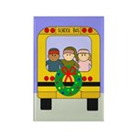 School Bus Christmas Rectangle Magnet