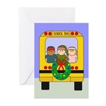 School Bus Christmas Greeting Cards (Pk of 10)