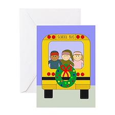 School Bus Christmas Greeting Card