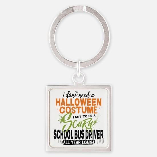 School Bus Driver Halloween Square Keychain