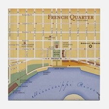 French Quarter Map Tile Coaster