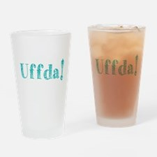 Uffda turquoise text Drinking Glass