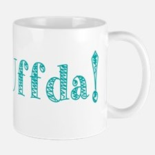 Uffda turquoise text Mugs