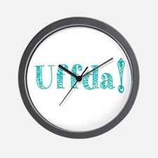 Uffda Turquoise Text Wall Clock