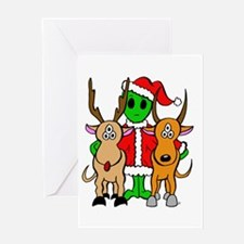 Green Alien Santa Christmas Greeting Card
