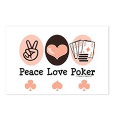 Peace Love Poker Postcards (Package of 8)