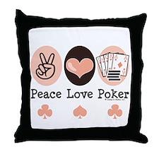 Peace Love Poker Throw Pillow