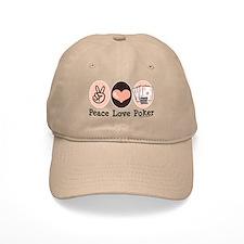 Peace Love Poker Baseball Cap