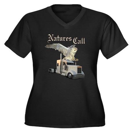 Natures Call Women's Plus Size V-Neck Dark T-Shirt
