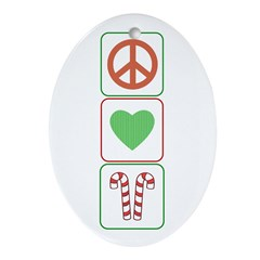 Peace Love Candy Canes Oval Ornament