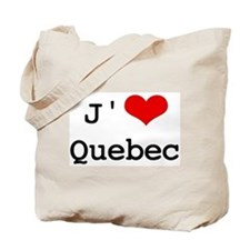 J' [heart] Quebec Tote Bag