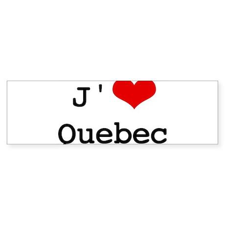 J' [heart] Quebec Bumper Sticker