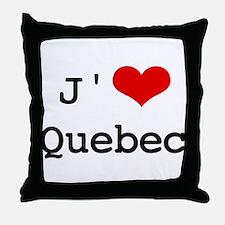 J' [heart] Quebec Throw Pillow