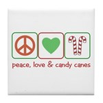 Peace Love Candy Canes Tile Coaster