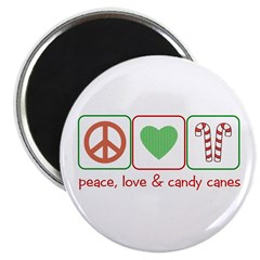 Peace Love Candy Canes Magnet