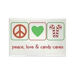 Peace Love Candy Canes Rectangle Magnet (10 pack)