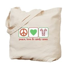 Peace Love Candy Canes Tote Bag