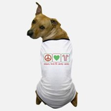 Peace Love Candy Canes Dog T-Shirt