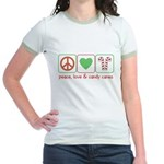 Peace Love Candy Canes Jr. Ringer T-Shirt