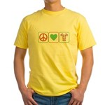 Peace Love Candy Canes Yellow T-Shirt