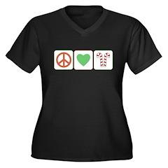 Peace Love Candy Canes Women's Plus Size V-Neck Da