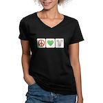 Peace Love Candy Canes Women's V-Neck Dark T-Shirt