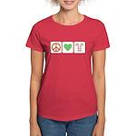 Peace Love Candy Canes Women's Dark T-Shirt