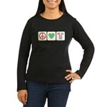 Peace Love Candy Canes Women's Long Sleeve Dark T-