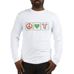 Peace Love Candy Canes Long Sleeve T-Shirt