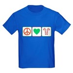 Peace Love Candy Canes Kids Dark T-Shirt