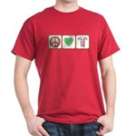 Peace Love Candy Canes Dark T-Shirt