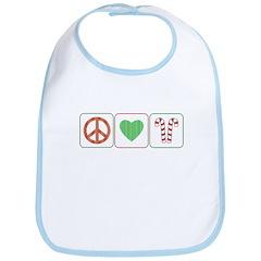 Peace Love Candy Canes Bib