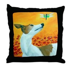 Greyhound with Dragonfly Throw Pillow