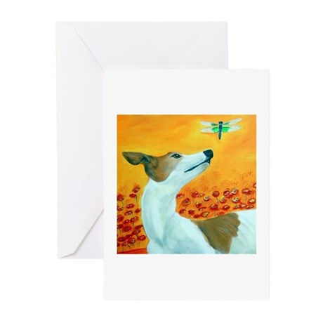 Greyhound with Dragonfly Greeting Cards (Pk of 20)