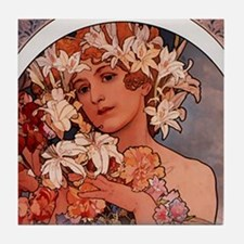 Woman of Mucha Tile Coaster