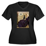 Whistler's / Min Pin Women's Plus Size V-Neck Dark