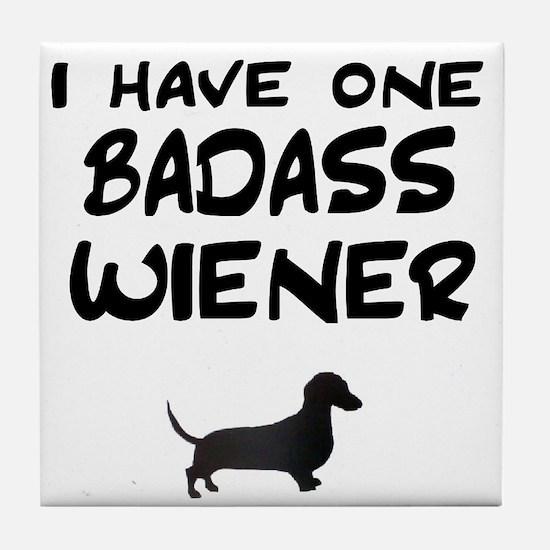 One Badass Wiener Dachshund Tile Coaster