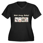 Mah Jong Baby Women's Plus Size V-Neck Dark T-Shir