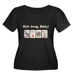 Mah Jong Baby Women's Plus Size Scoop Neck Dark T-
