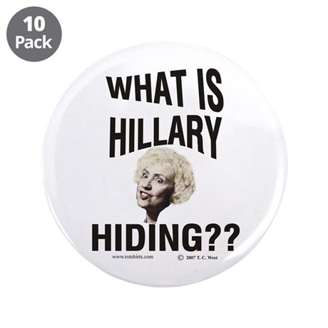 "Hiding Hillary 3.5"" Button (10 pack)"